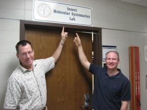 Joe and Mike outside molec lab